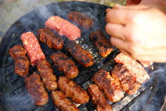 Traditional romanian outdoor grill  meat  food Royalty Free Stock Photo