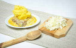 Traditional romanian polenta with stew and cabbage Royalty Free Stock Images