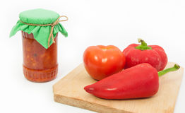 Traditional romanian vegetable preserve called zacusca Stock Photos