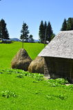Traditional romanian village with straw bales Royalty Free Stock Photos