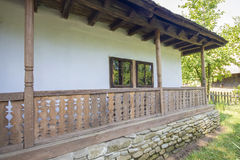Traditional romanian wooden porch Stock Photo