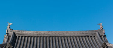 Traditional roof of ancient japanese building. Stock Image