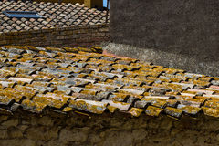 Traditional roof of a building in Catalan. Traditional roof of a building in Spain , city Pals royalty free stock photos