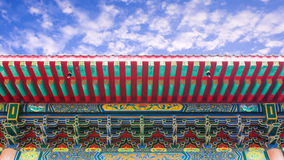 Traditional Roof Chinese style. At Wat Leng-Noei-Yi, Thailand Royalty Free Stock Photo