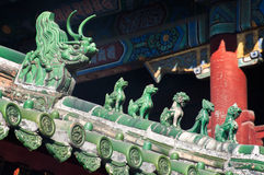 Traditional roof guardians at the Lama Temple, Beijing Stock Image