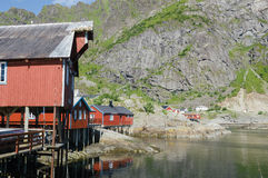 Traditional rorbu in A, Lofoten Islands, Norway, Europe Royalty Free Stock Image
