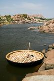 Traditional round boat in hampi Stock Image