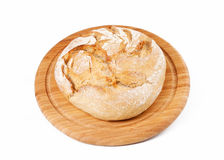 Traditional round bread. Isolated on a white background Royalty Free Stock Photography