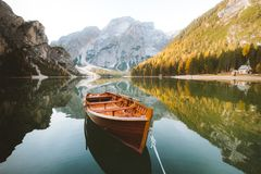 Free Traditional Rowing Boat On A Lake In The Alps In Fall Royalty Free Stock Image - 146342656