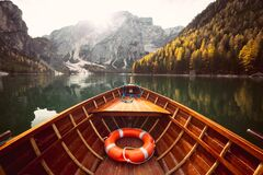 Free Traditional Rowing Boat On A Lake In The Alps In Fall Stock Image - 169772731