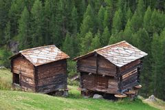 Traditional rural architecture in Zermatt Royalty Free Stock Photography