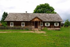 Traditional rural house. Old traditional Lithuanian rural house Stock Photo
