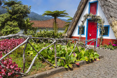 Traditional rural house in Santana Madeira, Portugal. Royalty Free Stock Image
