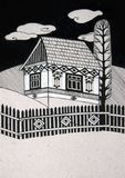 Traditional rural house. Black and white illustration Royalty Free Stock Photo