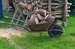 Traditional rural utility timber transport , South Bohemia. Czech Republic Stock Photo