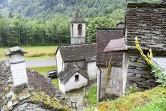 Traditional rural village of Fontana on the Swiss alps Stock Image