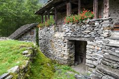 Traditional rural village of Fontana on the Swiss alps Stock Photography