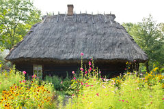 Traditional rural wooden cottage house Stock Image