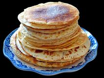 Free Traditional Russian Blini Isolated On A Black Background. Pancakes. Pancake Week. Maslenitsa Royalty Free Stock Photography - 173781577