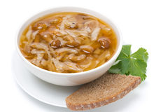 Traditional Russian cabbage soup (shchi) with mushroom, isolated Stock Photos