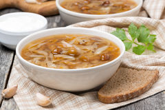 Traditional Russian cabbage soup (shchi) with mushrooms, garlic Stock Photos