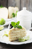 Traditional russian cake Medovik with honey Royalty Free Stock Photos