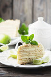 Traditional russian cake Medovik with honey Stock Photography