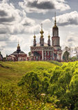 Traditional russian churches in countryside Royalty Free Stock Photos