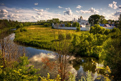 Traditional russian churches in countryside Stock Photos