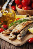 Traditional russian cooked fish smelt Stock Photos