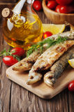 Traditional russian cooked fish smelt Royalty Free Stock Image
