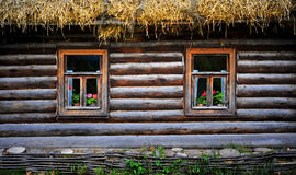 Traditional Russian Cottage with Flowers, Tula, Russia Stock Photos