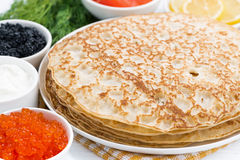 Traditional Russian crepes, closeup Stock Images