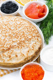 Traditional Russian crepes, vertical, closeup Royalty Free Stock Photos