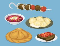 Traditional Russian cuisine culture dish course food welcome to Russia gourmet national meal vector illustration. Traditional Russian cuisine and culture dish Royalty Free Stock Image