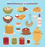 Traditional Russian cuisine culture dish course food welcome to Russia gourmet national meal vector illustration. Traditional Russian cuisine and culture dish Royalty Free Stock Photography