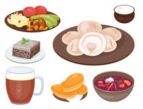 Traditional Russian cuisine culture dish course food welcome to Russia gourmet national meal vector illustration Stock Photos