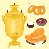 Traditional Russian cuisine culture dish course food welcome to Russia gourmet national meal vector illustration Stock Image