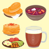 Traditional Russian cuisine culture dish course food welcome to Russia gourmet national meal vector illustration Stock Images