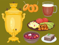 Traditional Russian cuisine culture dish course food welcome to Russia gourmet national meal vector illustration Royalty Free Stock Images