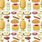 Traditional Russian cuisine seamless pattern background culture dish course food welcome to Russia gourmet national meal. Vector illustration. Homemade Royalty Free Stock Photos