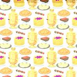 Traditional Russian cuisine seamless pattern background culture dish course food welcome to Russia gourmet national meal stock illustration