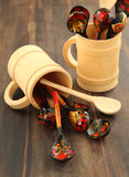 Traditional Russian decorated hohloma wooden spoons Royalty Free Stock Image