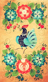 Traditional russian decorative wooden board. Painting with floral and peacock ornament Royalty Free Stock Photo