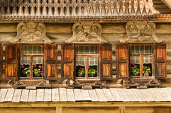 Traditional Russian decorative wooden windows Royalty Free Stock Photo