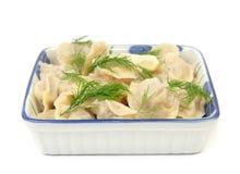 Traditional russian dish - pelmeni (dumplings) Stock Images