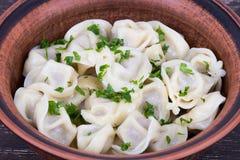 Traditional russian dish - pelmeni Stock Photos