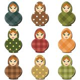 Traditional russian dolls matryoshka scrapbook Stock Images