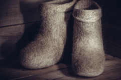 Traditional Russian felt boots, very warm shoes for cold winter. Royalty Free Stock Images