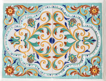Traditional russian floral ornament on tiles Royalty Free Stock Image